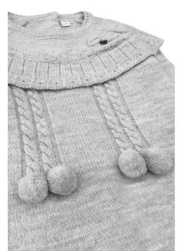 By Leyal For Kids  Bebe Yaka Triko Elbise (Sırt Komple Düğmeli) Ve Çorap Set-7053 Gri